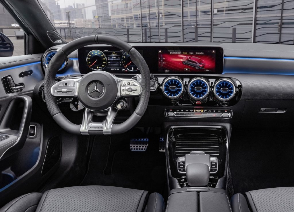 The front seats and dashboard of the 2020 Mercedes-AMG A35