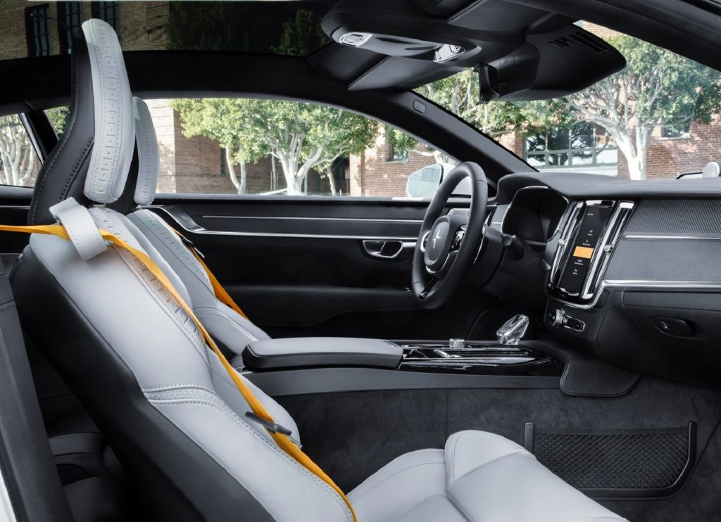 The white-leather interior of the 2020 Polestar 1