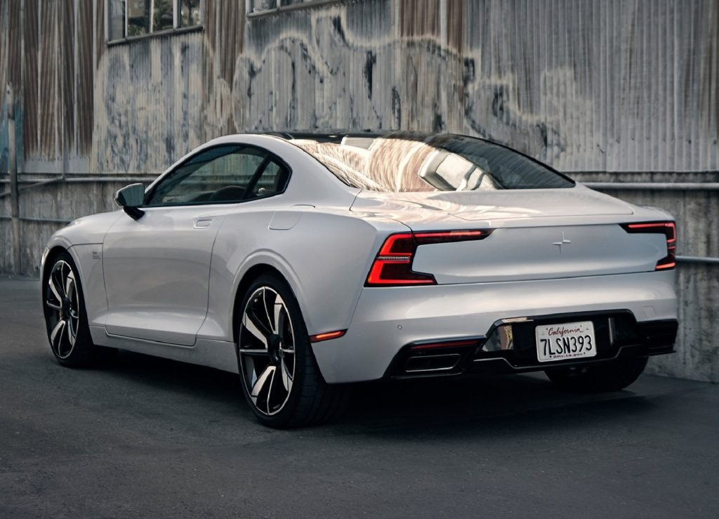 The rear 3/4 view of a white 2020 Polestar 1