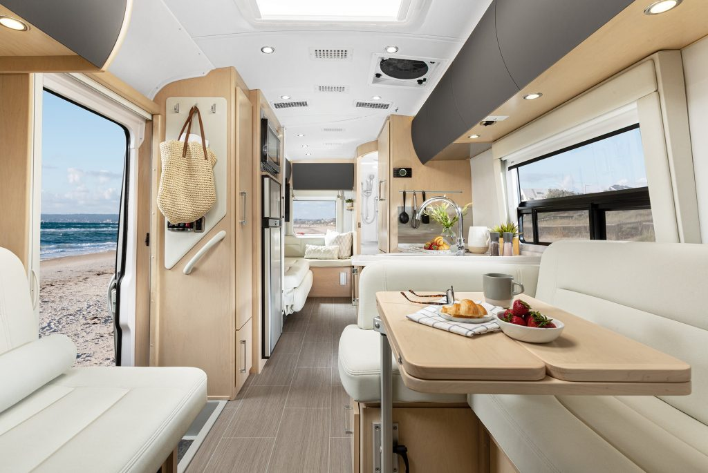The interior of the 2020 Serenity by Leisure Travel Vans