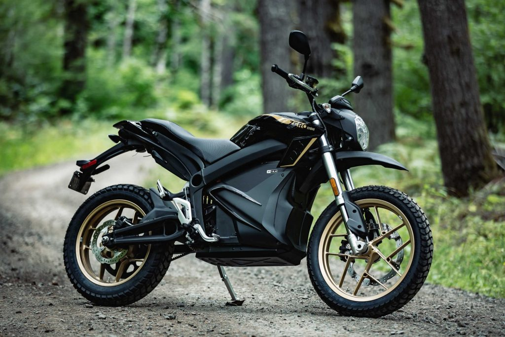 A black-and-gold 2020 Zero DSR in a forest
