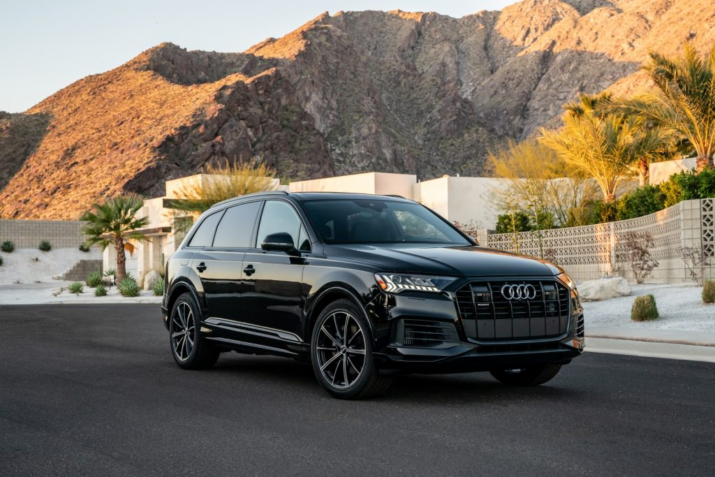 2021 Audi Q7 in front of mountains