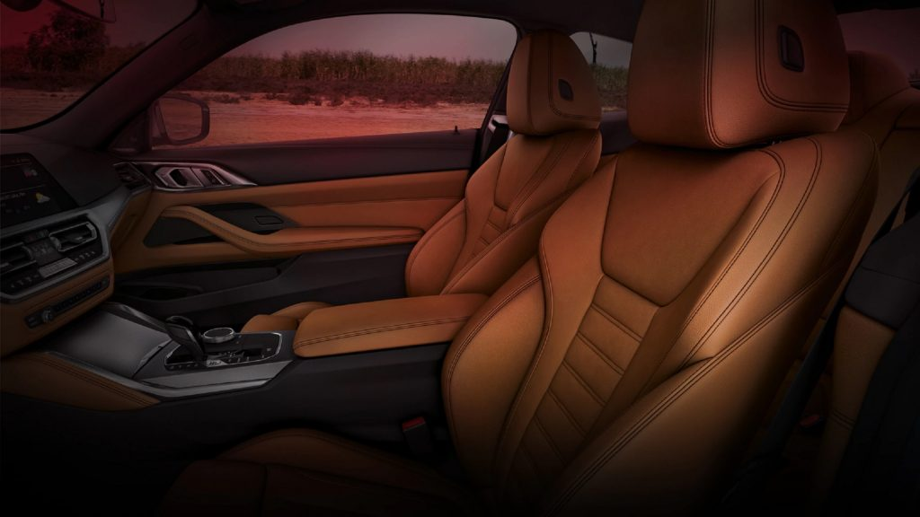 The 2021 BMW 4 Series' tan leather front and rear seats