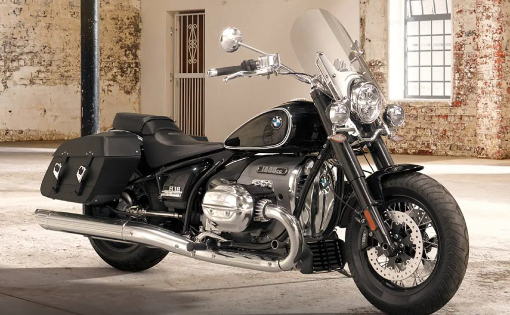 A black 2021 BMW R 18 Classic First Edition in a warehouse