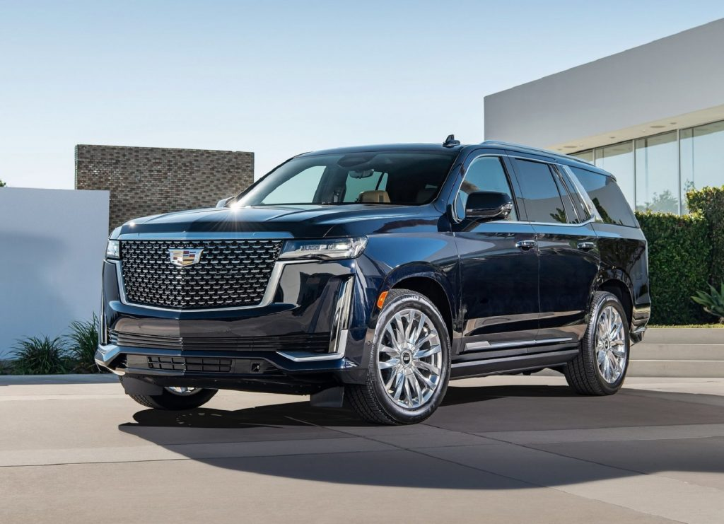 A dark-blue 2021 Cadillac Escalade