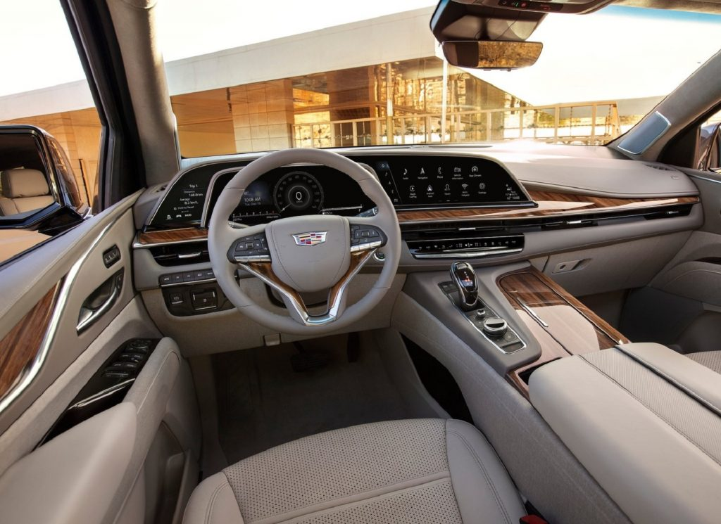 The dashboard and tan-leather front seats of the 2021 Cadillac Escalade