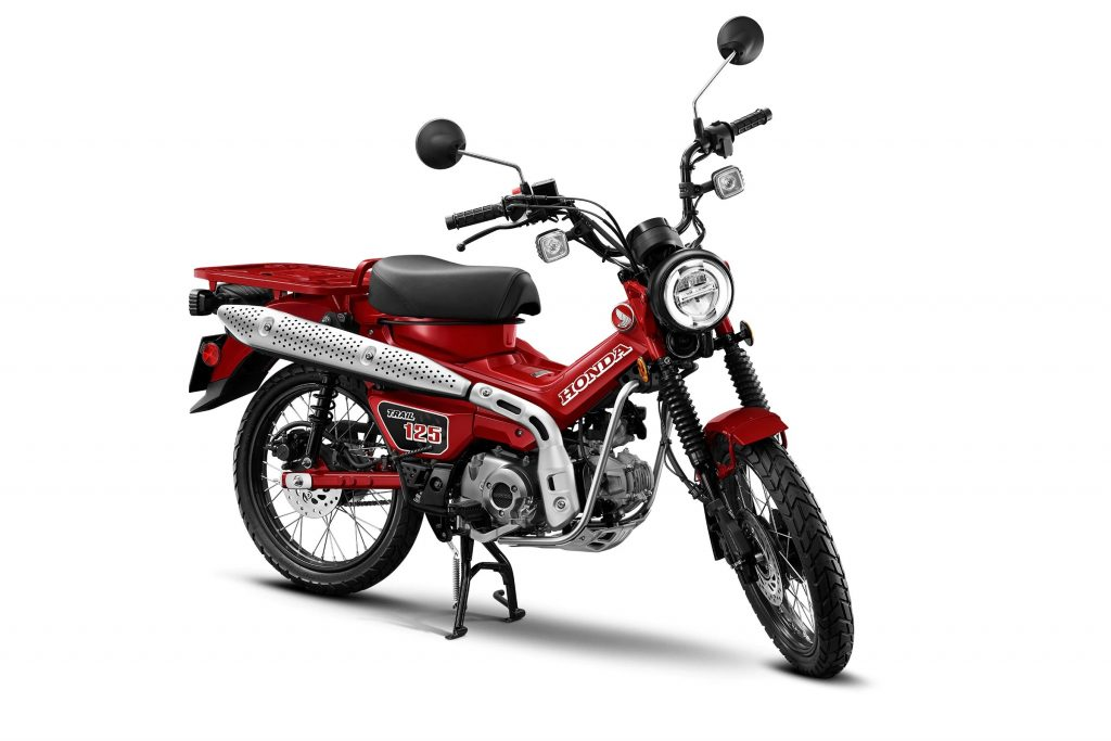 A red 2021 Honda Trail125 ABS