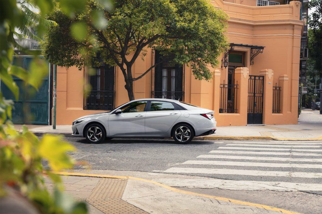 A gray 2021 Hyundai Elantra parked