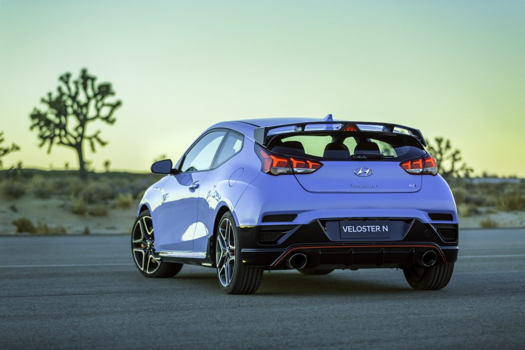 Rear of the 2021 Hyundai Veloster N