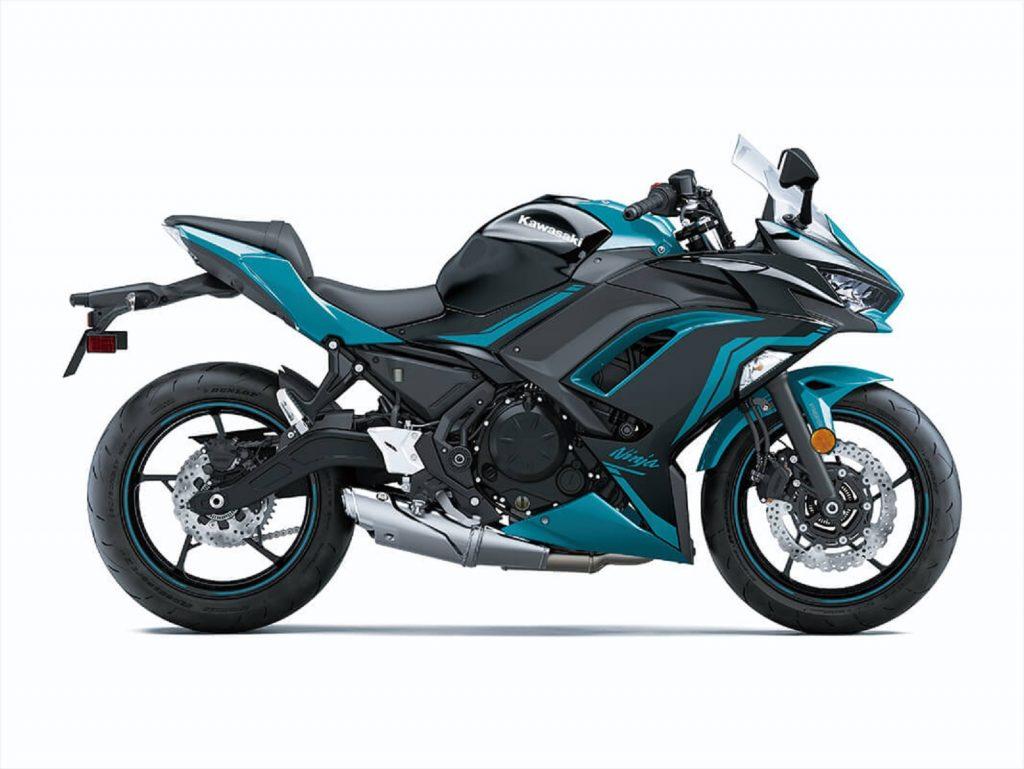 The side view of a blue-and-black 2021 Kawasaki Ninja 650