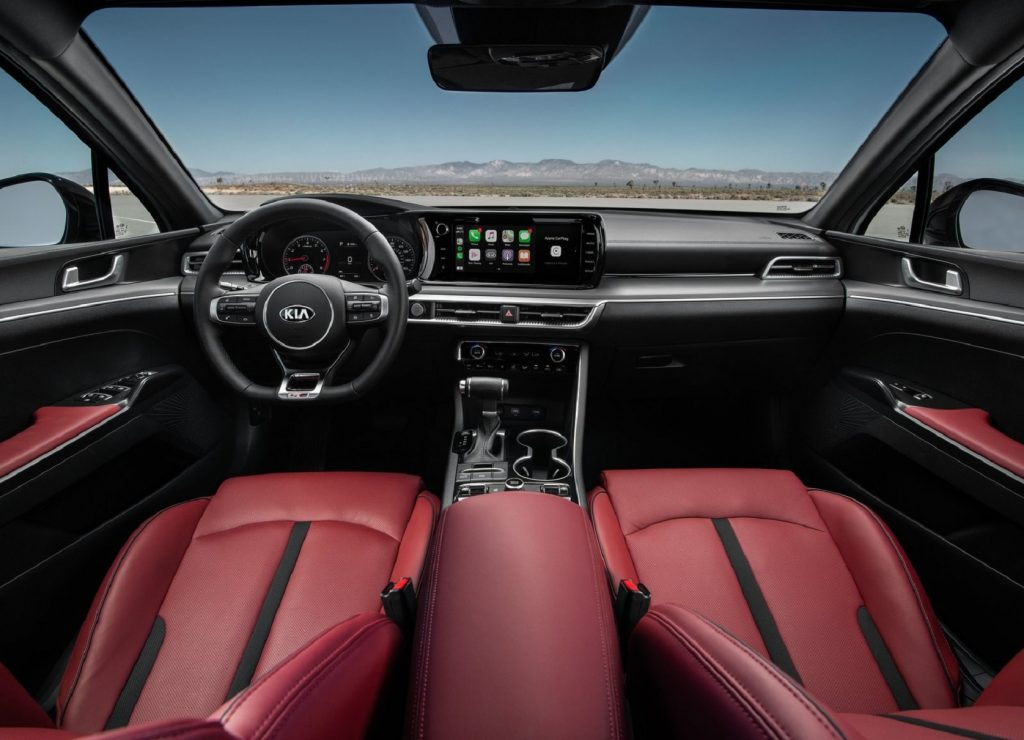 The red faux-leather interior of the 2021 Kia K5 GT-Line