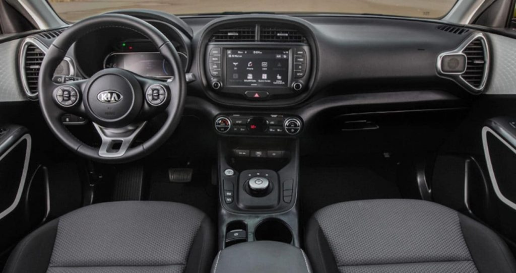 The front row of a 2021 Kia Soul .