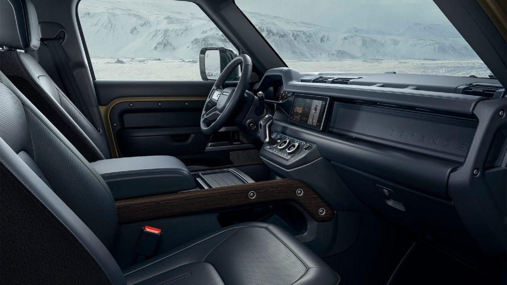 The 2021 Land Rover Defender's front seats and dashboard