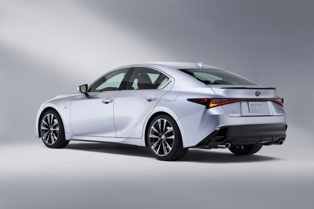 A photo of the 2021 Lexus IS in a photo studio.