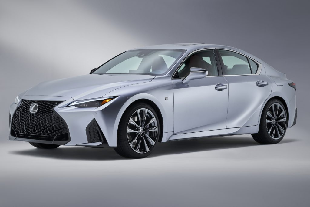The 2021 Lexus IS 350 F Sport on display in front of a gray background