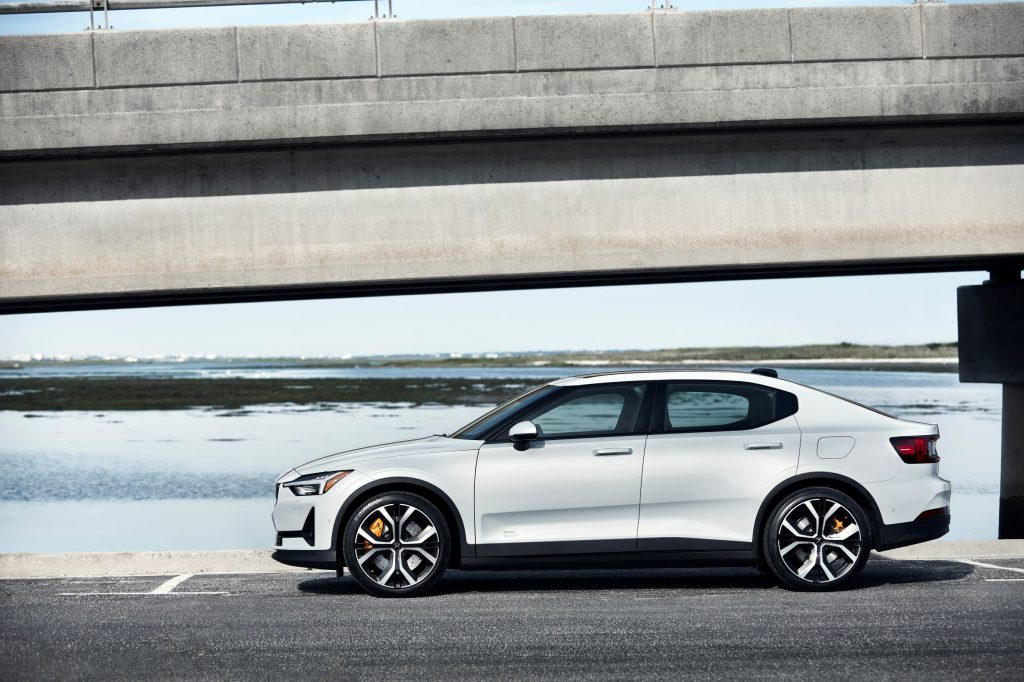 The side view of a white 2021 Polestar 2 Launch Edition