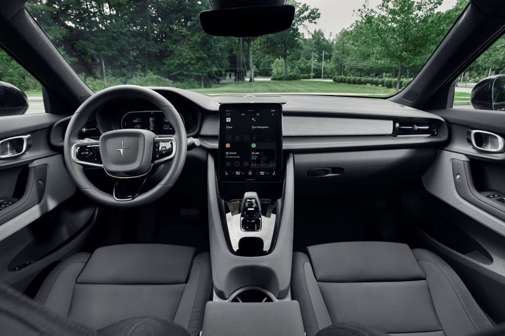 The black interior of a 2021 Polestar 2