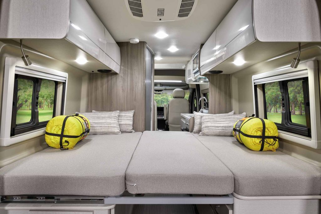 A view inside the 20AT floorplan of the 2021 Thor Motor Coach Tellaro Class B camper van