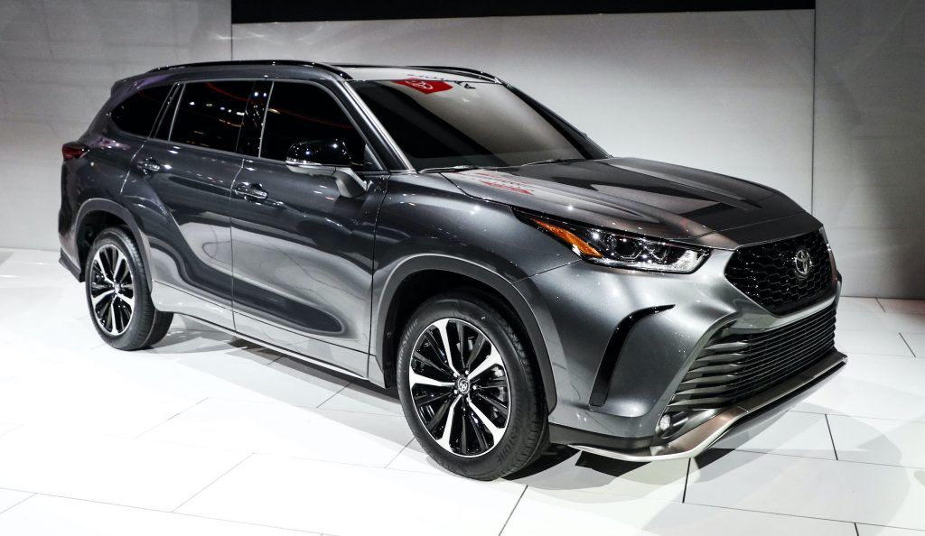 Toyota's 2021 Highlander XLE is displayed at the 2020 Chicago Auto Show Media Preview