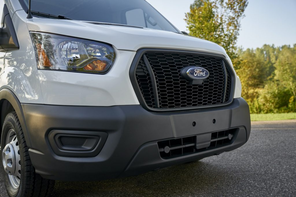 The grille of the 2021 Ford Transit