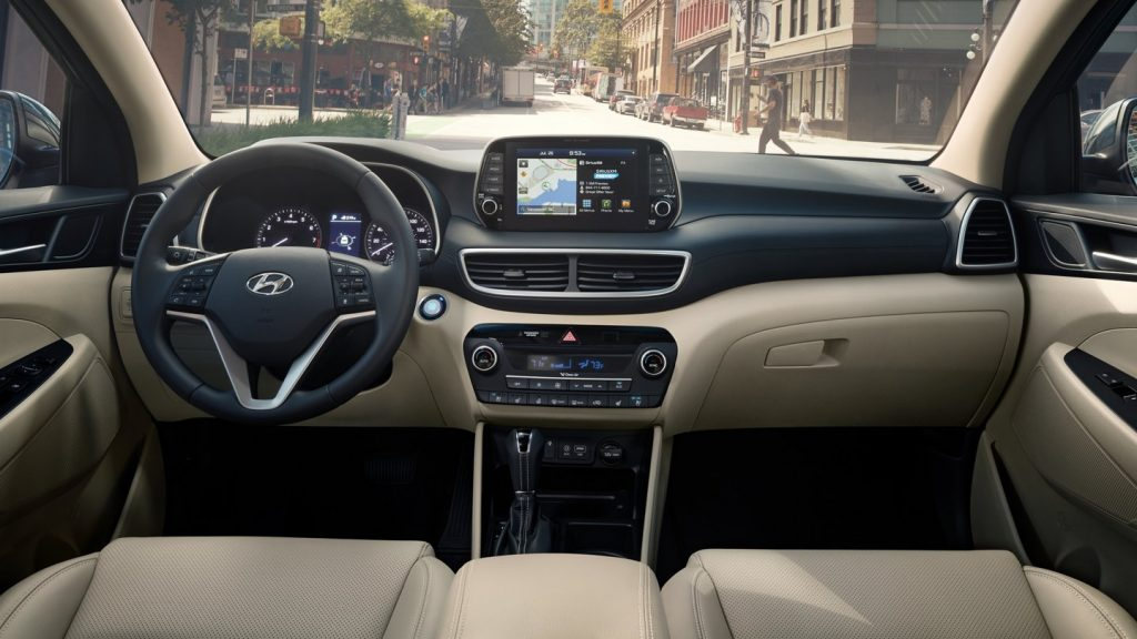 The front seats of a 2021 Hyundai Tucson