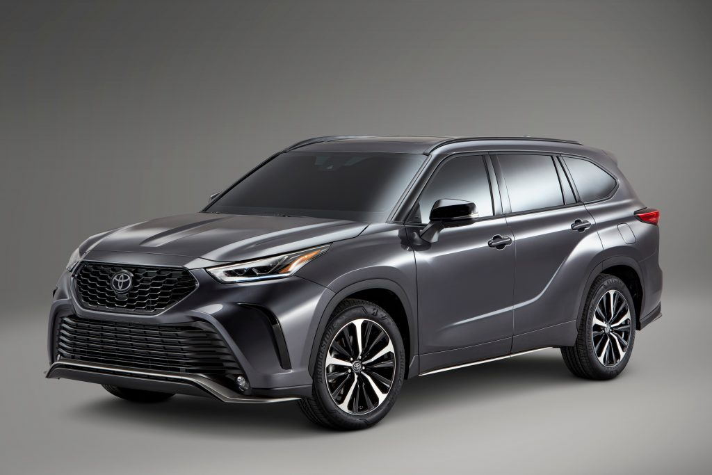press image from Toyota for the 2021 Highlander in gray with gray background