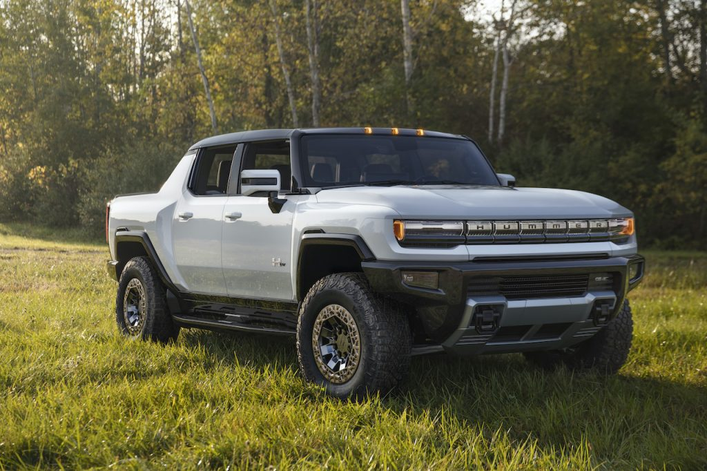 The GMC Hummer EV is an all-electric pickup truck.