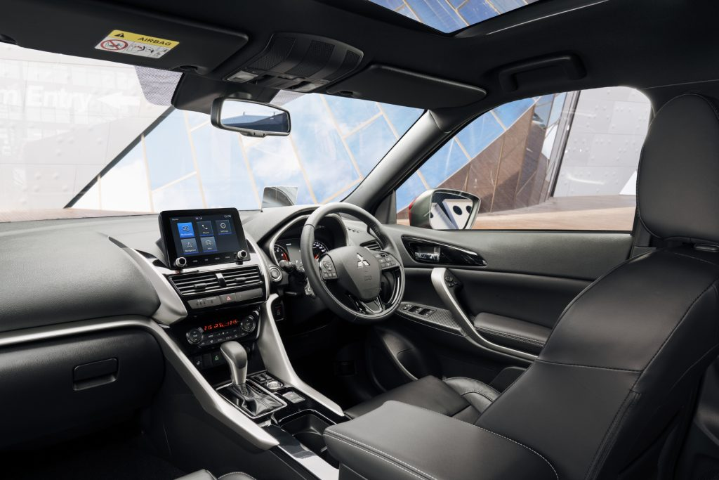 The interior of the 2022 Mitsubishi Eclipse Cross, featuring its infotainment display.