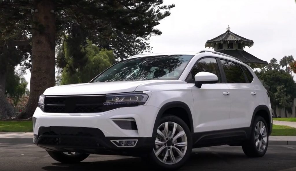 A white pre-production 2022 Volkswagen Taos prototype