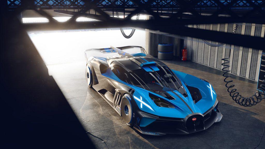 A photo of the Bugatti Bolide at a racetrack.