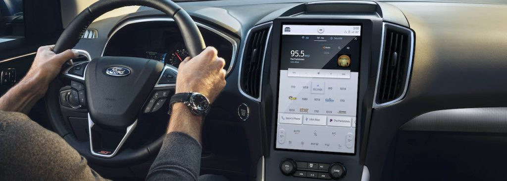 A 2021 Ford Edge with the new 12-inch touchscreen display.