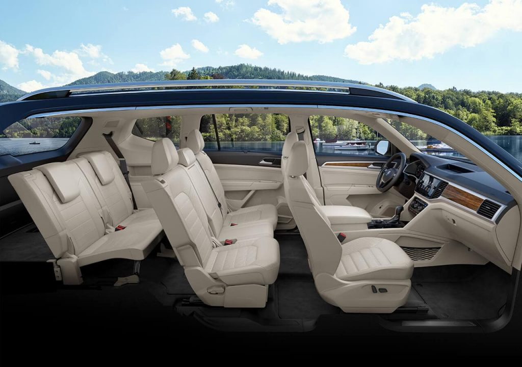 A side view of a the interior of a three-row Tiguan model.