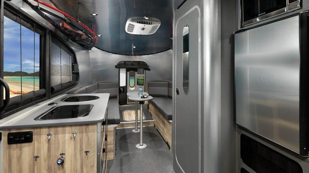 The kitchenette inside off a Basecamp 20X model