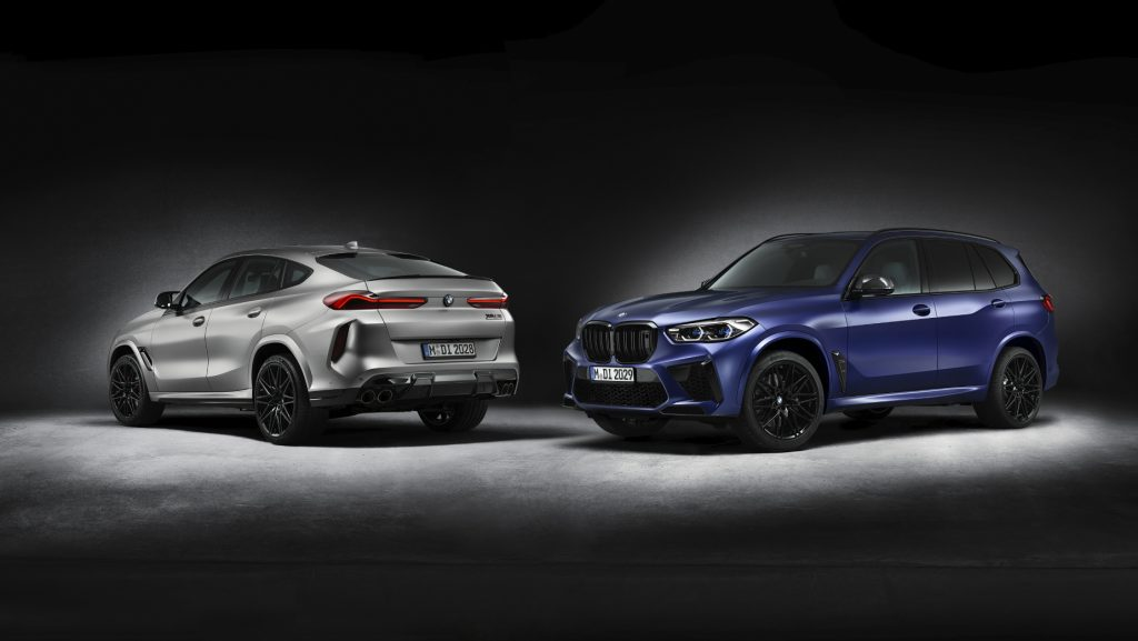 A silver 2020 BMX X6 M Competition First Edition and a blue 2020 BMW X5 M Competition First Edition posing side by side