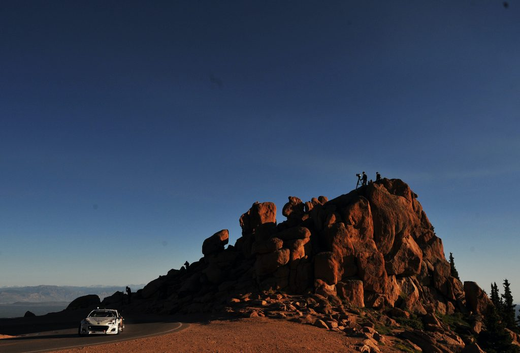 Toshiki Yoshioka, driver of the #104 Subaru BRZ, practices for the Pikes Peak International Hill Climb