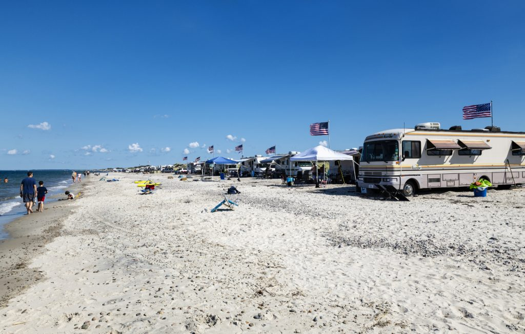 RVs parked at a beach campground