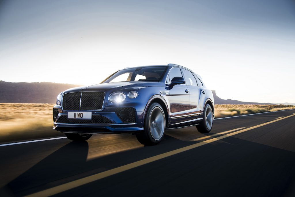A photo of the Bentley Bentayga on the road.