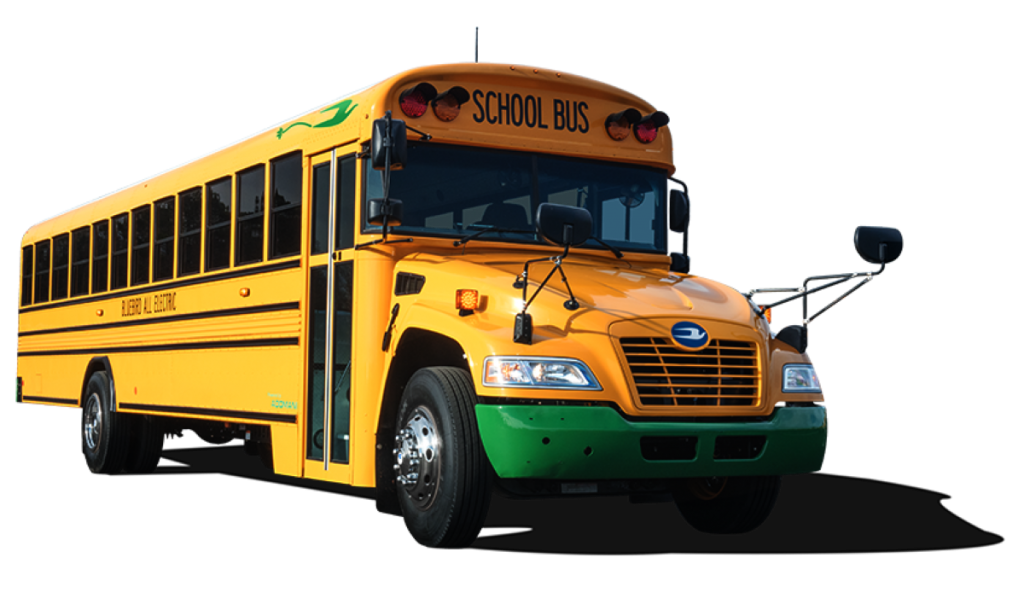 This school bus with a green bumper signifies that it has electric propulsion