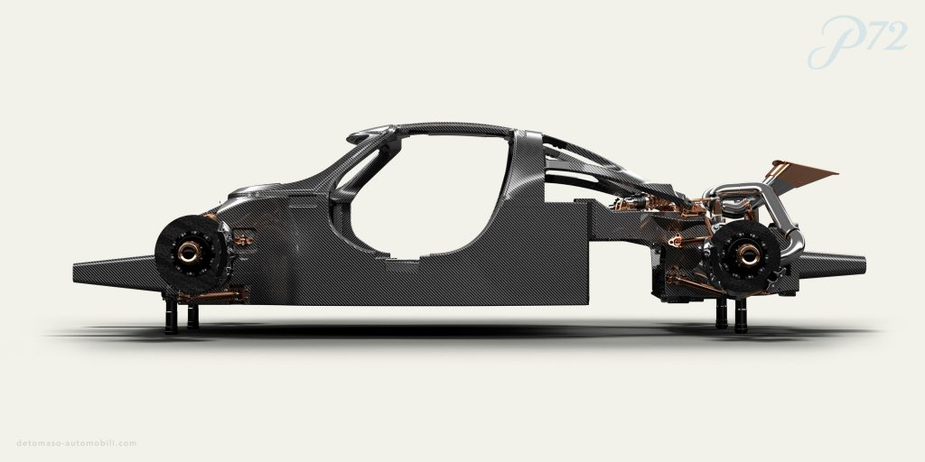 The carbon monocoque chassis of the De Tomaso P72