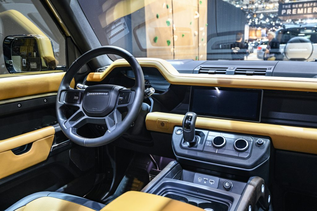 Land Rover Defender 110 off-road 4x4 vehicle interior on display at Brussels Expo