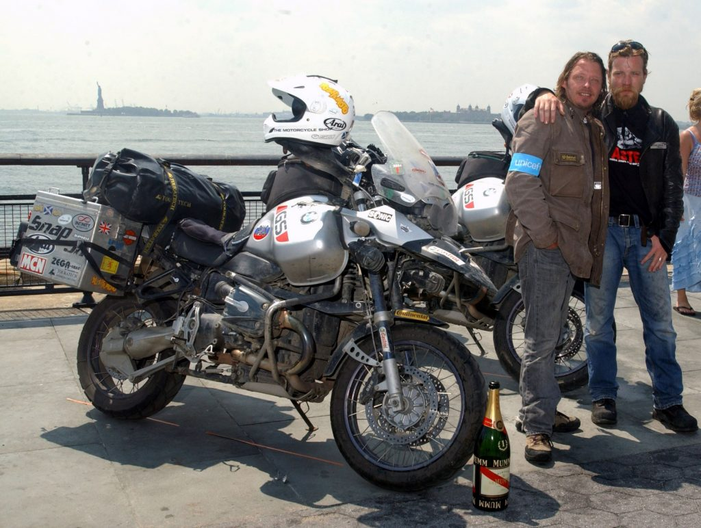 Ewan McGregor and Charley Boorman with a Long Way Round BMW R 1150 GS