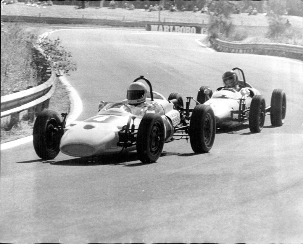 Wolfgang Prejawa in a Formula Vee leads Graham Engel out of the Esses.Practice at the Warick Farm motor Racing circuit for the RAC of Australia Trophy Race meeting tomorrow..