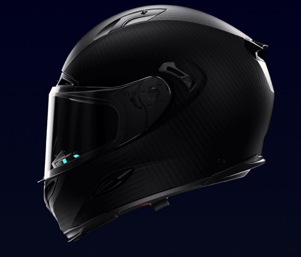 The side view of the Forcite MK1 smart motorcycle helmet