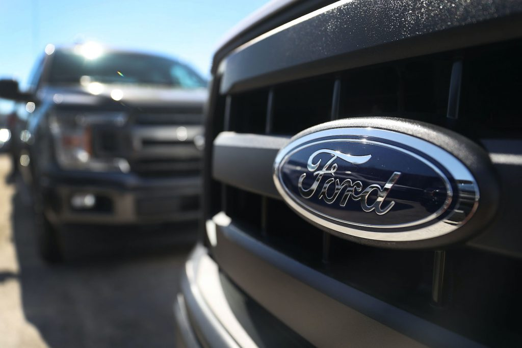 A lineup of Ford trucks