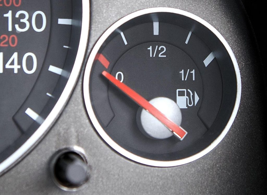 A fuel gauge on empty.