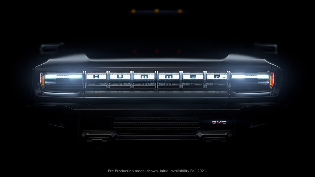 Zoomed in photo of the grille of a pre-production GMC Hummer EV supertruck