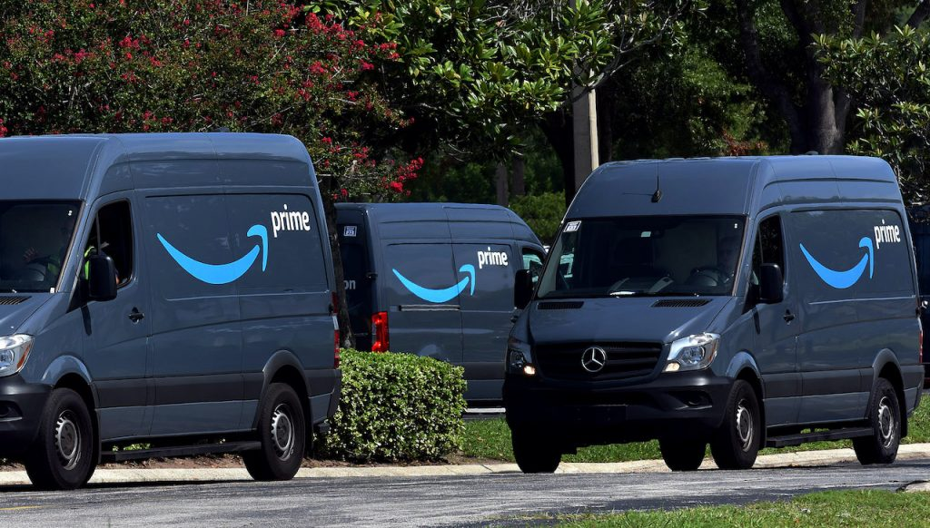 Amazon's fleet of vans consists of a mix of Ford Transit and Mercedes Sprinters.