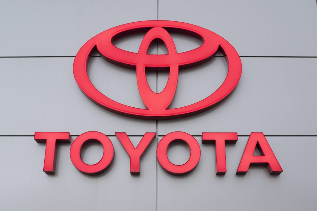A photo of the Toyota logo.
