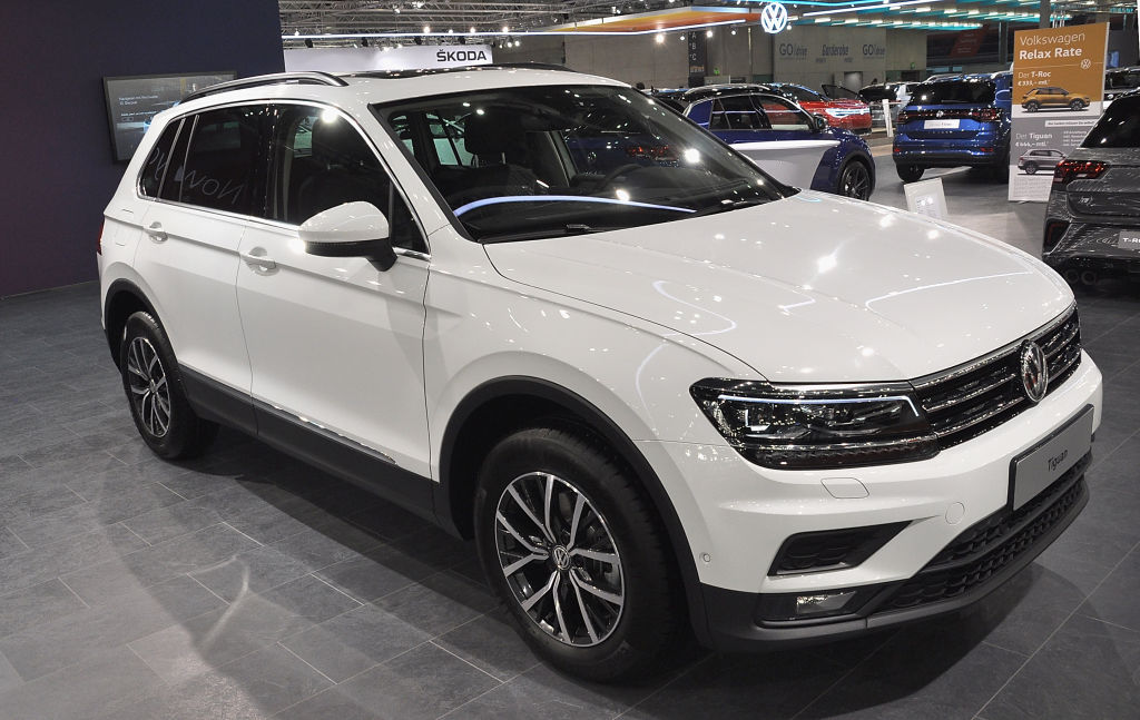 A photo of a Volkswagen Tiguan at an auto show.