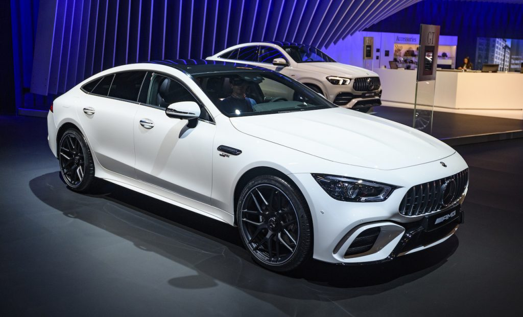 The Mercedes-AMG GT is a four-door version of the GT sportscar.